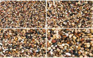 Разный размер камешков природного гравия